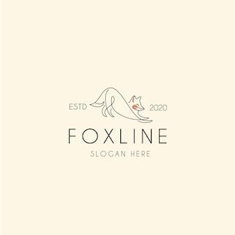 Logotipo vintage de fox line monoline