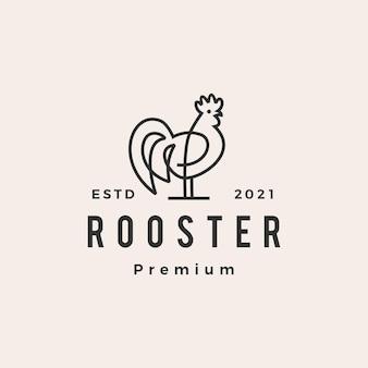 Logotipo vintage de gallo monoline contorno hipster