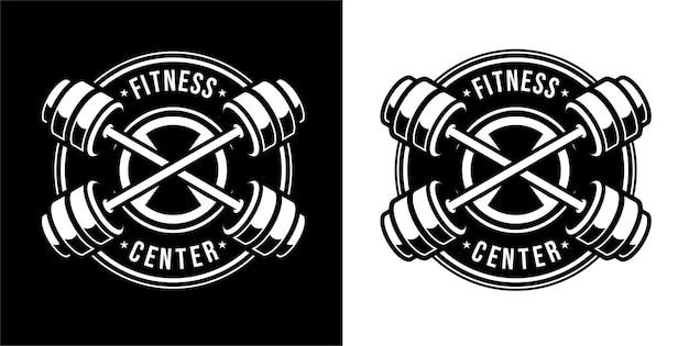 Logotipo vintage de gimnasio en estilo blanco y negro