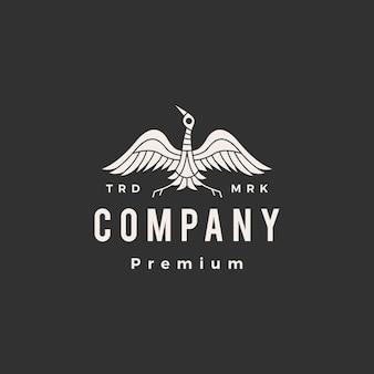 Logotipo vintage de grúa pájaro hipster