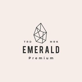 Logotipo vintage de hipster de piedras preciosas esmeralda