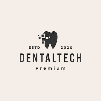 Logotipo vintage de hipster tech dental