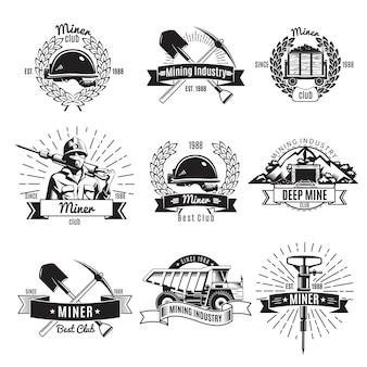 Logotipo vintage de la industria minera