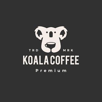 Logotipo vintage de koala café hipster