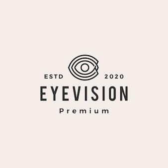 Logotipo vintage de ojo visión hipster
