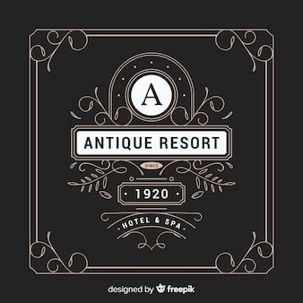 Logotipo vintage ornamental con marco