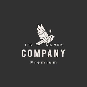Logotipo vintage de pájaro estrella hipster