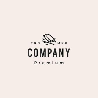 Logotipo vintage de pájaro monoline hipster