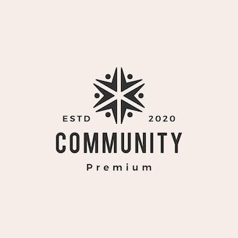 Logotipo vintage de personas comunidad hipster