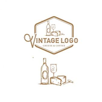Logotipo vintage, queso y café, estilo de bocetos simples de arte lineal
