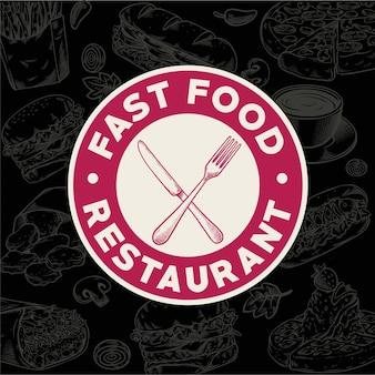 Logotipo vintage de restaurante de comida rápida