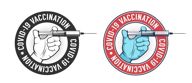 Logotipo vintage de vacunación
