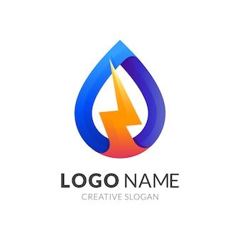 Logotipo de voltaje y gota de agua