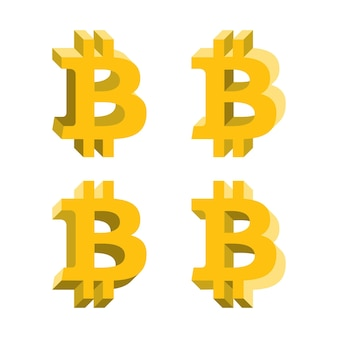 Logotipo de volumen de bitcoin, iconos planos con diferentes lados. símbolo de dinero de red