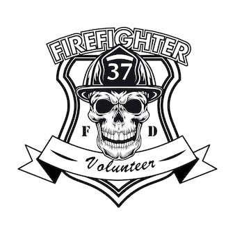 Logotipo de voluntario bombero con ilustración de vector de calavera. jefe de personaje en casco con muestra de número y texto