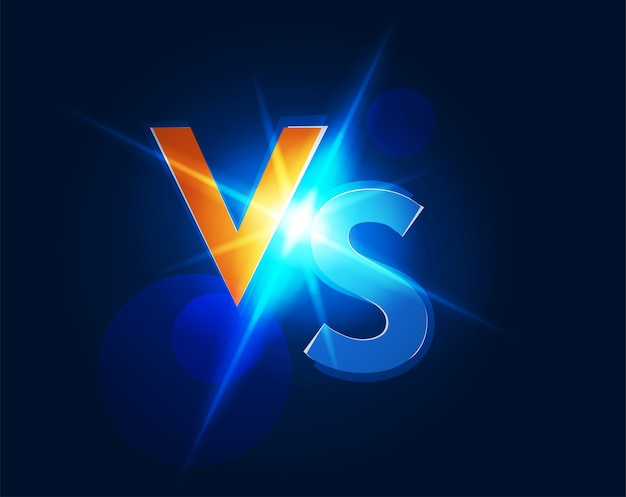 Logotipo de vs versus icon para la ilustración del juego de lucha de batalla en una imagen oscura brillante