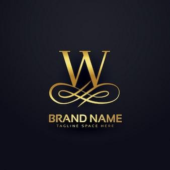 Logotipo de w en estilo dorado