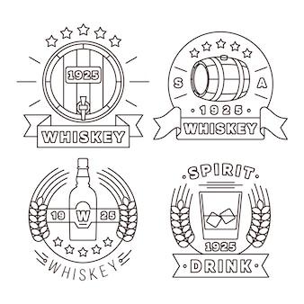 Logotipo de whisky establece estilo de línea fina. alcohol bebe etiquetas modernas para pub y bar