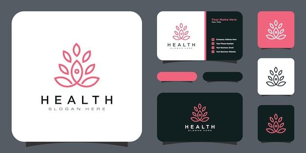 Logotipo de yoga con plantilla de logotipo de hoja con tarjeta de visita