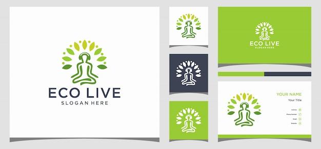 Logotipo de yoga y tarjeta de visita.