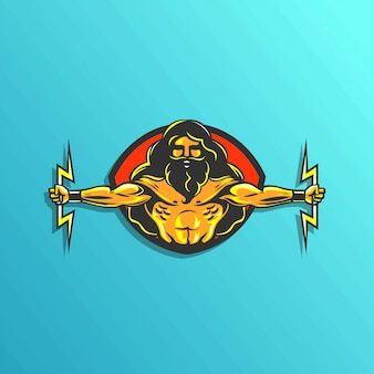Logotipo de zeus illustartion para vector de etiqueta de juego