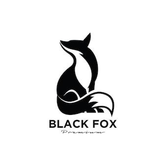 Logotipo de zorro negro premium