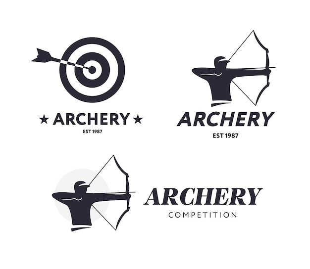 Logotipos abstractos de tiro con arco