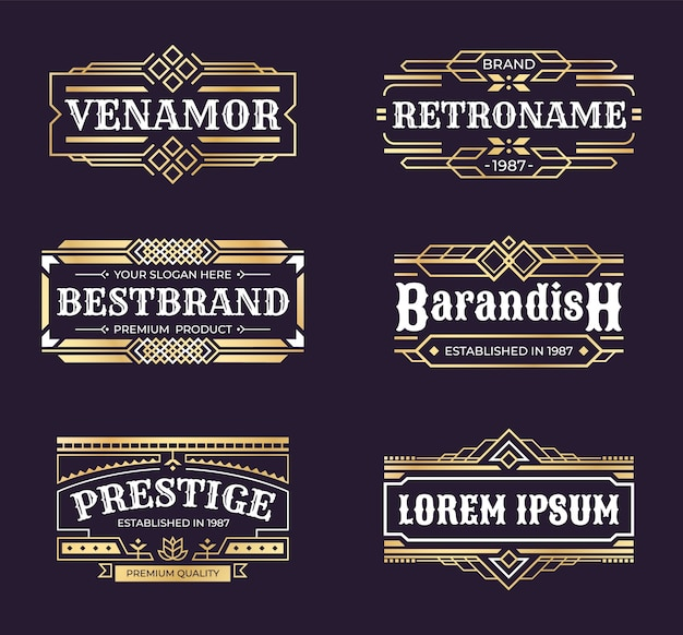 Logotipos art deco. marco de adorno geométrico hipster, borde antiguo mínimo de línea vintage, emblema de lujo en estilo retro.