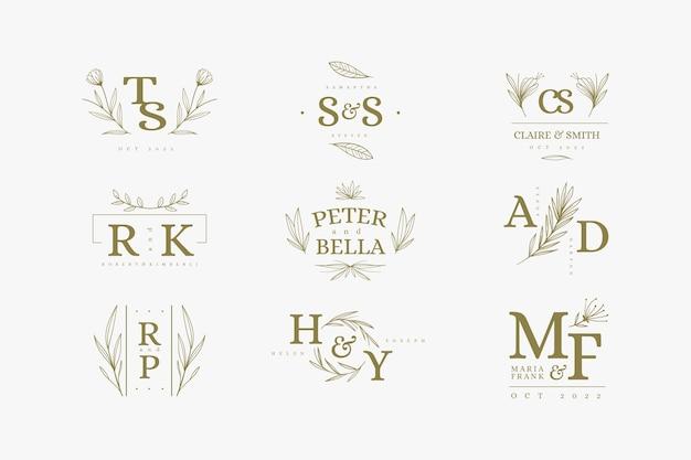 Logotipos de boda de diseño floral