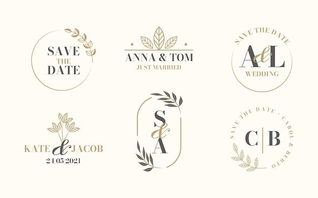 Logotipos de boda planos lineales