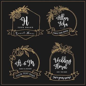 Logotipos de boda que pueden ser editados con líneas de flores.