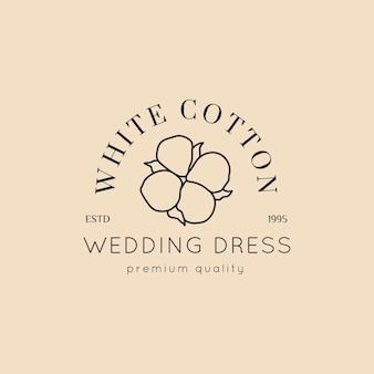 Logotipos de bodas en estilo minimalista. etiquetas e insignias florales de revestimiento: icono vectorial, adhesivo, sello, etiqueta con flor de algodón para vestidos de salón de bodas y tiendas nupciales