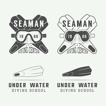 Logotipos de buceo, etiquetas.