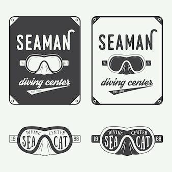 Logotipos de buceo, etiquetas