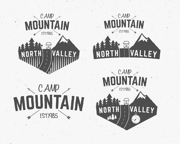 Logotipos de camping de montaña