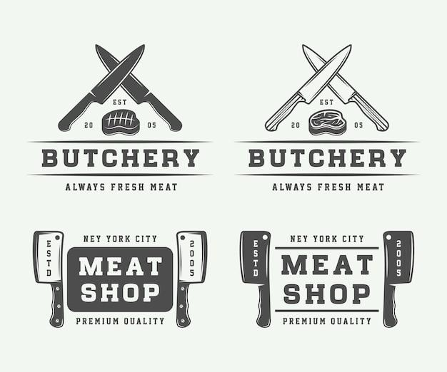 Logotipos de carne de carnicería, bistec o barbacoa