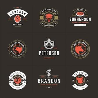 Los logotipos de la carnicería establecen ilustración vectorial buena para insignias de granja o restaurante con animales y carne