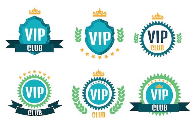 Logotipos del club vip en estilo plano