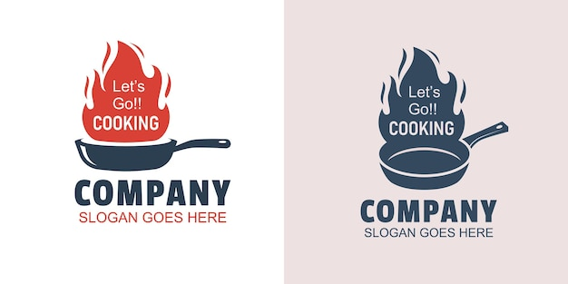 Logotipos de cocina caliente retro con sartén vieja rústica y fuego