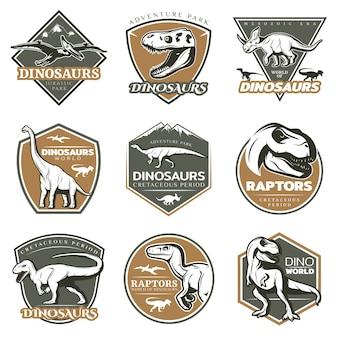 Logotipos coloridos de dinosaurios vintage