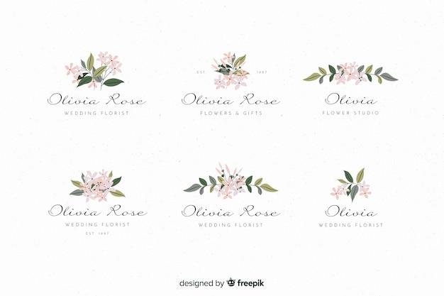 Logotipos coloridos de la floristería de la boda