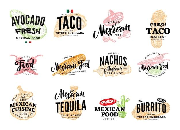 Logotipos de comida mexicana dibujados a mano