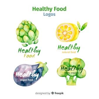 Logotipos de comida saludable en acuarela