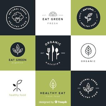 Logotipos de comida saludable dibujados a mano