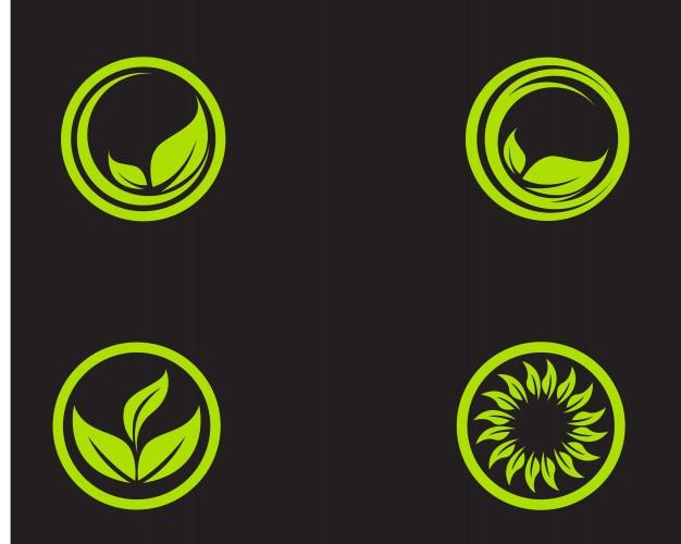 Logotipos del icono de vector de elemento de naturaleza ecología hoja verde