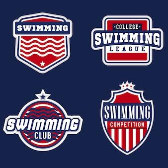 Logotipos deportivos temáticos de natación universitaria para competiciones, torneos, clubes, ligas. ilustración vectorial