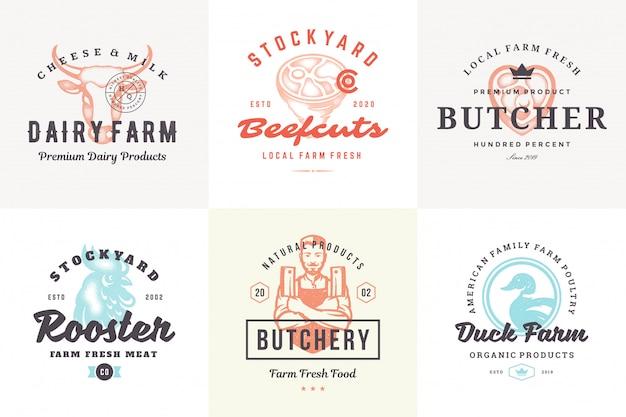 Logotipos dibujados a mano y etiquetas animales de granja con tipografía vintage moderna estilo dibujado a mano conjunto ilustración vectorial.