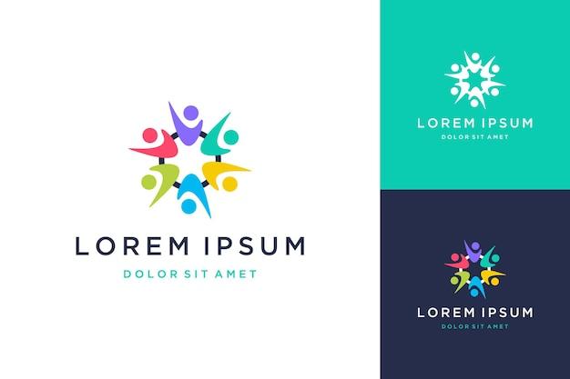 Logotipos de diseño comunitario o personas en círculos coloridos