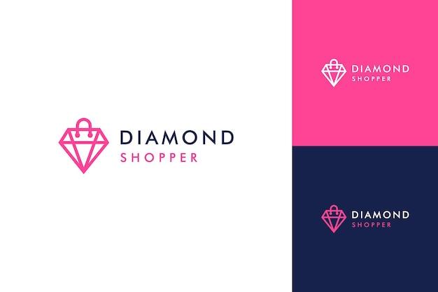 Logotipos de diseño de joyas o diamantes con bolsas de la compra