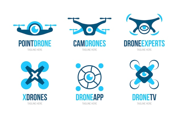 Logotipos de drones de diseño plano